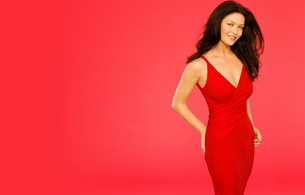 catherine zeta-jones, actress, brunette, smile, dress, minimalist wall, catherine zeta jones, red, robe, hollywood, glamour, personality