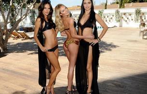 sexy, black, lingerie, alessandra ambrosio, candice swanepoel, adriana lima, 3 babes, dressed, supermodel