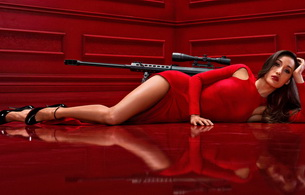 red, sexy, lingerie, gun, nikita, maggie q, brunette, long hair, actress, glamour, hollywood, posing, laying, red, robe, sexy, long legs, high heels, erotic, red lips, widescreen cut