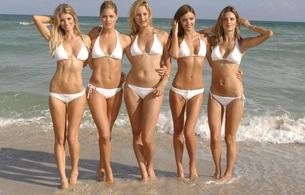 sexy, babe, beach, white, marisa miller, doutzen kroes, miranda kerr, alessandra ambrosio, five, bikini, group, karolina kurkova, 5 babes