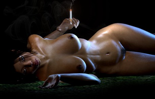 smoking, sexy, naked