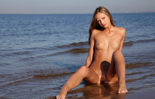 brunette, pussy, vagina, beach, sand, wet, water, titts, boobs, nude, naked, model, beautiful fingers on legs