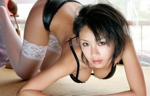 megumi kagurasaka, model, megumi, megumi kagurazaka, lingerie, stockings, bra, panties, cleavage, tits