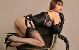 lingerie, black, girl sexy, garterbelt, corset, stockings, emily marilyn, redhead, fetish model, posing, kneeling, bra, string, underbust corset, erotic, legs, high heels, lingerie series