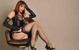 girl.black, sex, sexy, model, garterbelt, corset, stockings, emily marilyn, fetish model, redhead, posing, sitting, bra, string, underbust corset, legs, high heels, leather, gloves, erotic, red lips, lingerie series, fetish babe
