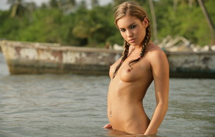 veronika fasterova, brunette, boobs, tits, topless, wet, water, cute, sexy, model, girl, outside, hot, pigtails