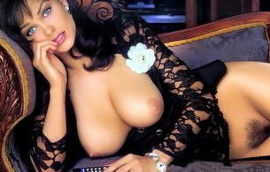 traci adell, model, playboy, playmate, sexy, big titts, smile, floci, sofa, big tits, flower, beautiful, hairy