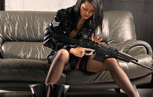 stockings, sofa, gun, black, sexy, weapon, stockings