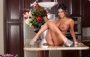 brunette, heels, boobs, naked, priya rai, priya anjali rai, nude, cougar, busty, sitting, table, legs, plateau heels, smile