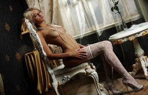 hot, sexy, blonde, stockings, beautiful female legs, shoes, topless, lingerie, mila i, skinny, delicious, sexy, small tits, tiny tits, perfect girl, nipples, puffy nipples, nylon, collant, pantyhose, white sandals, chair