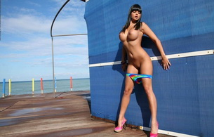 sexy, beach, blue, bikini, topless, ass, boobs, legs, sarah, sasha cane, heels, sun, sunny, huge breasts, sarah beeharee