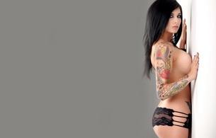 veronica gomez, big tits, brunette, tattoo, panties, body art