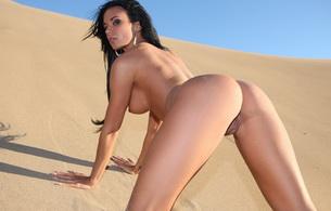 ashley bulgari, boobs, ass shot, bending, nude, naked, sand, ass