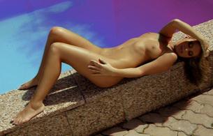 3d, brunette, nude, naked, boobs, pool, feet, legs, sun, tan, tanned