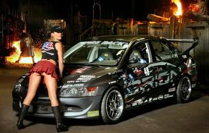 sport car, blonde, mitsubishi, skirt, boots, legs