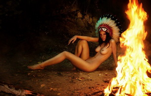 sex, sexy, womal, girl, fire, feathers, squaw, indian, claudie, native american