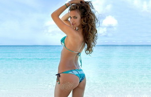 irina sheik, brunette, model, swimsuit, ass, butt, great body, tanned, ocean, great hair, healthy ass, looking back, sexy look