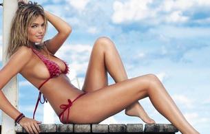 kate upton, blonde, celebrity, model, swimsuit, smile, beautiful female legs, bikini, celebrity, hottie