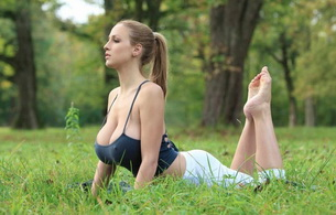 jordan carver, big tits, yoga, outdoor, trees, forest, gym, big, tits