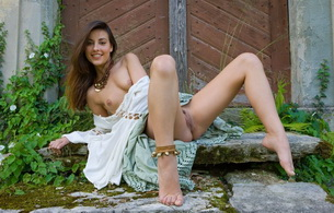 lorena g, brunette, outdoor, sexy, smile, cute, spread, spreading, naked, tits, hot, pussy, outdoors, rocks, door, necklace, dress, lorena garcia, shaved pussy, small tits, tiny tits, delicious