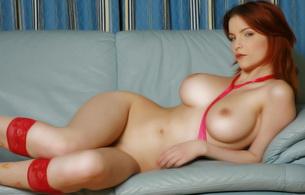 redhead, nude, naked, shapely, curvy, sexy, big tits, big boobs, sofa, tits, stockings, ribbon, leather, ulya i, desirerose