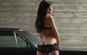 lingerie, brunette, ass, car, black hair, smile