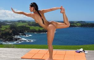 nude, outdoor, lexa, naked, brunette, yoga, melisa, melisa mendiny
