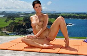 lexa, brunette, nude, naked, yoga, melisa, spreading, legs, melisa mendiny