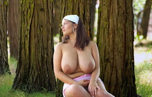 amateur, brunette, cute, babe, pretty, outdoor, woods, busty, sexy, boobs