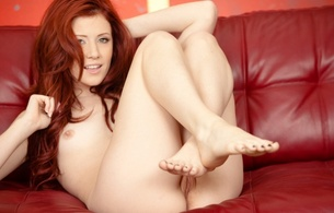 elle alexandra, model, pussy, nude, naked, sexy, red head, smile, small tits, tiny tits, beautiful toes, beautiful feet, hi-q