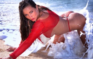 model, porn, juicy, brunette, beauty, hot, kyla cole, surf, water, beach, wet, waves, sun, sunny, tan, tanned, foam, sexy, ass wallpaper, ass, sea