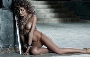 actress, model, porn, arnav, brunette, sexy babe, sitting, topless, tits, nipples, tanned skin, legs, curly hair, erotic, sword, fantasy