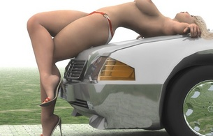 girl on car, blonde, legs, car, tits, sexy, heels