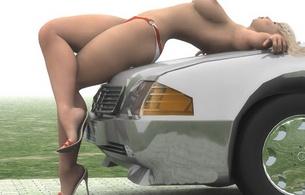 girl on car, blonde, legs, car, tits, sexy, heels