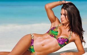 adriana lima, model, bikini, brunette, beach, sea