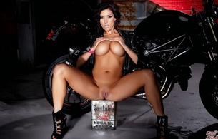 nude, babe, bike, dilan rayder, dylan ryder, oil tin