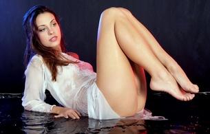 lorena garcia, sexy, girl, sweet, cute, lingerie, beautiful female legs, legs, hips, butt, dress, water, wet, delicious, graceful a foot