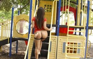 outdoor, lingerie, ass, butt, sexy, brunette, ass shot, jinx maze, jynx maze, playground, hot, ass wallpaper, big ass, panties down