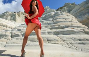 red dress, ass, legs, outdoors, dress, heels
