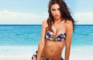 adriana lima, brunette, model, beach