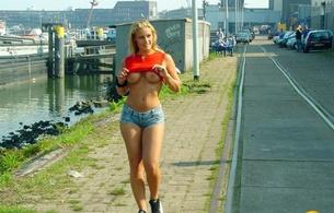 street girl, tits, boobs, shorts, public, blonde, jean shorts, outdoors, jeans shorts, flashing, flash, whore, tits out, top up, thighs, healthy girl, denim shorts, cutoff shorts