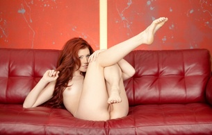 elle alexandra, red head, long hair, smile, slim, couch, pussy, redhead, nude, naked, sexy, hot, legs, feet, pretty, hi-q