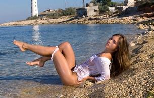 natalia e, lily c, raisa, sexy, sweet, cute, girl, model, beautiful female legs, hips, sea, water, wet, lingerie, outdoors, long hair, hi-q, lighthouse