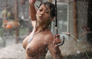 asian, wet, rain, sexy, babe, you xuan, brunette, umbrella, outdoor, necklace, tits, nipples, naked, nude