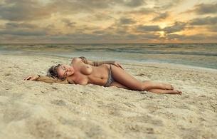 beach, hot, topless, woman, tits, sand, sunset, sunrise