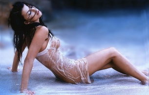 wet, tits, kate beckinsale, brunette, beach, sea