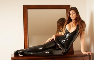 louisa marie, sexy, girl, lingerie, latex, beautiful female legs, hips, shoes, mirror, decollete, boobs, long hair, view, look, rubber, fetish, latex heaven model, lingerie series, shiny, rubber, fetish, tight clothes, fetish babe, widescreen cut