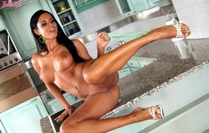brunette, pussy, tits, legs, ashley bulgari, kitchen, panties, heels, feet, hot, vagina, gorgeous, tan, tanned