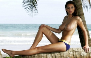 girls, tits, big, nude, naked, model, outdoor, brunette, sea, beach, sand, keeley hazelll, keeley hazell, melons, jugs, norks, gazongas, knockers, hooters, funbags, glamour