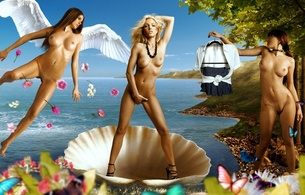 girls, tits, big, nude, naked, model, buts, pussy, art, venere di botticelli, britney spears, fake, the birth of venus